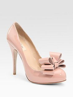 Valentino Patent Leather Round Toe Bow Pumps