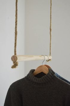 Handmade, natural wood, hanging rail - Hand made from natural pinewood rod! Creativity enabled with its use. Minimal Can be painted in seve - Boutique Interior, Deco Depot, Diy Kleidung Upcycling, Deco Boheme Chic, Clothing Storage, Hanging Rail, Store Design, Room Inspiration, Natural Wood