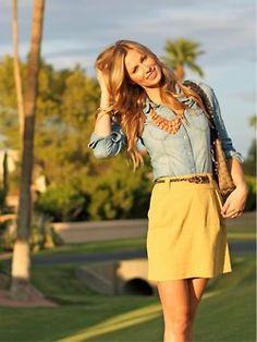 yellow skirt & statement necklace with chambray shirt