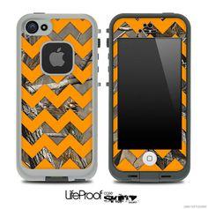 Camo & Orange Chevron Print Skin for the iPhone 4/4s or 5 LifeProof Case on Etsy, $9.99
