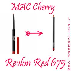 MAC Cherry dupe Revlon Red 675 Lip Liner  8 Loveable Lip Liner Dupes #dupe #liplinerdupe #macdupe www.lipstickdupe.com