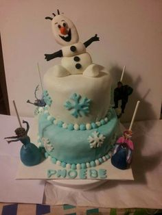 Disney frozen cake with character cake pops