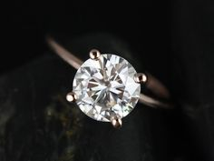 #1 Skinny Alberta 8mm 14kt Rose Gold Round FB Moissanite Tulip Solitaire Engagement Ring (Other metals and stone options available)