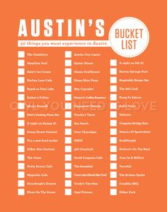 Austin Bucket List. I've only done 25 of these - I better get busy!