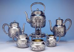 Dominick & Haff Japanesque style sterling tea service, c1881 (spencermarks)