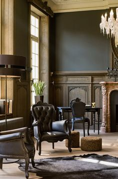 Deep, rich neutrals, and beautiful architectural details... This is SO Downton Abbey! Love it.