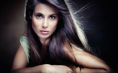 Download Wallpaper look, girl, face, background, the wind, hair, hands, brown eyes, section девушки Resolution 1280x800