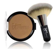 IT Cosmetics Vitality Glow Anti-Aging Matte Bronzer w/Fan Brush