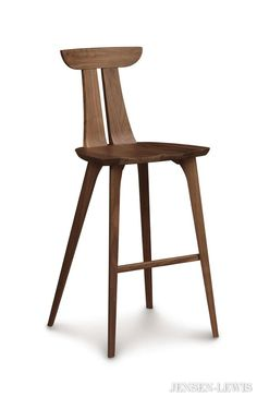 Copeland Furniture's high end Estelle Counter Stool features the essence of mid-century modern, minimalist design. Sculpted in Vermont using solid American Walnut hardwood. American Made solid wood furniture at its finest. Hardwood Furniture, Dining Furniture, Modern Furniture, Furniture Design, Office Furniture, Furniture Dolly, Luxury Furniture, Old Chairs, Rattan Chairs