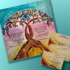 Wedding Invites Set - Printable Wedding invitations set - Jewish wedding - Print your own - digital files - Linked Trees