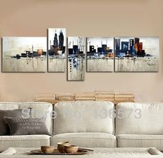 Online Shop Hand Painted 5 Panel wall Art Set Night New York City Landscape Oil Painting Modern Abstract Piece Home Decoration Wall Pictures|Aliexpress Mobile