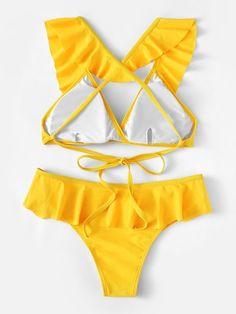 Deep-neck lace-up backless bikini set with crossed straps . Sporty Swimwear, Swimwear Fashion, Bikini Swimwear, Bikini Set, Swimsuits For Teens, Cute Swimsuits, Yellow Lingerie, Maternity Swimwear, Zaful Bikinis