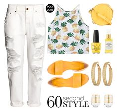 """Good Jeans"" by stavrolga ❤ liked on Polyvore featuring H&M, Thierry Mugler, Michel Vivien, OPI, GUESS, Mullein & Sparrow, Home Essentials, distresseddenim, polyvoreeditorial and 60secondstyle"