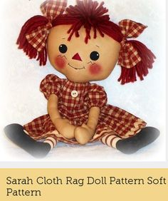 """Sarah Cloth Rag Doll Pattern Soft Toy Pattern    """"Sarah Ann """"    20 inches    This is a PDF e-PATTERN that you download and print yourself."""