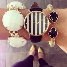 """Love the look , but I personally would of just wore the watch with the black & gold bracelet """"too much jewellery looks cheap """" #taylorknows ;)"""