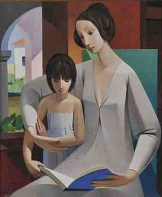 Maternal. Armando Barrios (Venezuelan, 1920-1999). In developing his artistic language his work has drawn on two major trends: the abstraction (Cubism) and figurative art. The use of linear dynamic movement reflecting the presence of the female figure and the persistent search for the links between music and the topics have been characteristic of his work.