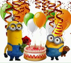 3 parte imágenes con frases Happy Birthday Minions Gif, Birthday Wishes For Kids, Cute Happy Birthday, Birthday Blessings, Happy Birthday Messages, Happy Birthday Images, Happy Birthday Greetings, Birthday Pictures, Image Minions