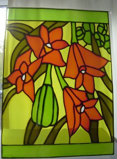 Dendrobium Orchid  stained glass effect by RainbowGlassCraft