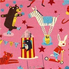 pale pink canvas fabric circus animal Nancy Wolff Kokka 1