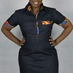Short Sleeves, patched with Ankara material, Point Collar, Single Breasted,Standard Fit. Can be worn on all occasions.The denim Dress also has a Pocket and a Classic Collar. African Dresses For Kids, Latest African Fashion Dresses, African Print Dresses, African Print Fashion, African Wear, Jeans Gown, African Fashion Traditional, Kitenge, Denim Fashion