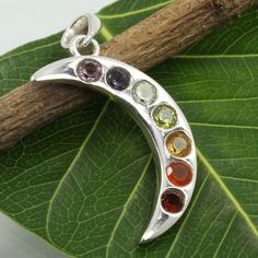 Genuine MULTI-COLOR Gemstones Moon Chakra Pendant 925 Sterling Silver Best Gift #SunriseJewellers #Pendant