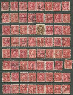 US collection of 64  stamps Scott # 634 -2¢ George Washington # 209 - 10¢ Jeffer