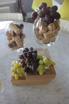 cork and grape centerpeice