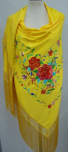 Dika's shawl looked very similar to this, only the fringe was black. And Dika's shawl was made of heavy silk.    Yellow / Multicolor  Embroidery Spanish flamenco by Spanisheart, $48.50