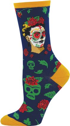 New Day of the Dead Frida socks embellished with roses and skulls! Navy Socks, Sugar Skull Face, Fashion Socks, Women's Fashion, Rosie The Riveter, Skulls And Roses, Novelty Socks, Cute Socks, Retail Therapy