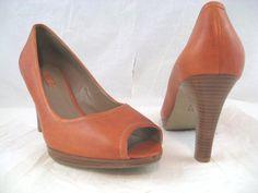 Ecco Keen Womens Open Peep Toe Pumps High Heel Shoes Size 41  US 10-10.5  Orange #Ecco #OpenToe