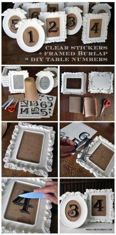 Créer les numéros ou noms de tables avec des vieux cadres en toile et un fond en jute.