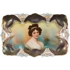 """11.75"""" X 7.25"""" Unmarked R.S. Prussia Dresser Tray - Lily Mold - Green and Yellow with Lebrun Portrait - Iridescent Peacock Tiffany Finish Domes."""