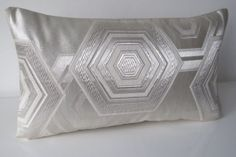 Cushion Cover Embroidered Silver Geometric by BeccaCadburyDesign, £50.00