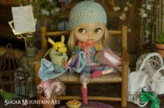 Summer Sleepover. Pajama Top, And Bloomers, Crocheted Travel Bag, Sparkling Socks, Crocheted Cap, And Blanket N Pillow For Blythe Doll by SugarMountainArt on Etsy https://www.etsy.com/listing/398914467/summer-sleepover-pajama-top-and-bloomers