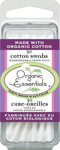 Organic Essentials Cotton Swabs, 30 Cotton Swabs by ClubNatural by ClubNatural. $1.59. COTTON SWABS TRAVEL PACK. Features of Organic Essentials Biodegradable Cotton Swabs Swabs are tipped with 100% pure cotton. Baby Safety Swabs with safety bulb also available. Sticks are made of paper or plastic, assorted colors or white.