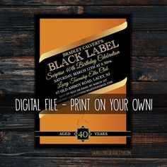 Johnnie Walker Party Invitation | Black Label | Whiskey | Birthday Party | Bachelor Party | Printable | Digital File | DIY