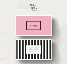 Printable business card premade business card template modern unique and modern business card design pink and black stripes pattern premade calling wajeb Choice Image