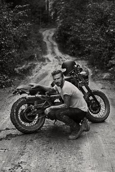 David Beckham, with his Triumph Scrambler