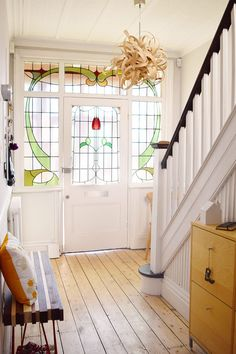 hallway decorating 473089135859594106 - Edwardian Hallway – Cornforth White Source by Little House, House, Home, Edwardian Hallway, Home Renovation, Stained Glass Door, Victorian Interior, Hallway Designs, House And Home Magazine