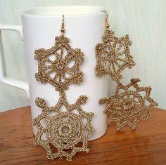 Crochet  Earrings Gold Color Earrings Long Earrings by knittee