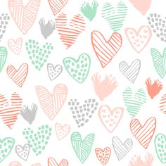 coral and mint hearts fabric valentines love design cute valentines day love hearts fabric by charlottewinter on Spoonflower - custom fabric