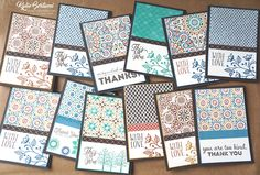 Stampin' Up! Australia, Kylie Bertucci: 12 cards made with just a quarter of a pack of DSP. Paper Cards, Diy Cards, Karten Diy, Stampin Up, Stamping Up Cards, Card Patterns, Card Sketches, Greeting Cards Handmade, Pattern Paper