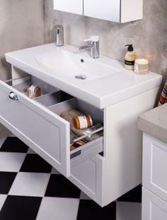Snygg och smart förvaring med rymliga lådor och skåp. Rena, snygga avställningsytor för en trevlig känsla i badrummet.   GUSTAVSBERG