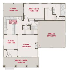 Craftsman Style House Plan - 4 Beds 3.5 Baths 2265 Sq/Ft Plan #461-39 Floor Plan - Main Floor Plan - Houseplans.com