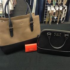 Attention Kate Spade lovers! These gorgeous purses and wallet just came in and won't last long! {Brown & black purse - $175} {Black purse -$150} {Orange wallet - $25} #platosclosetkitchener #katespade #styleforless #brandname | www.platosclosetkitchener.com