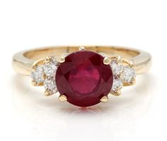 Express your unique love and style with a colorful ruby and diamond engagement ring. Customization of ring size is available. Garnet Wedding Rings, Garnet Rings, Ruby Rings, Yellow Engagement Rings, Ruby Engagement Ring Vintage, Ruby Ring Vintage, Gold Ring Photo, Yellow Gold Rings, Unique Rings
