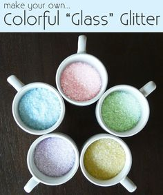 "[Make] Colorful ""Crushed Glass"" Glitter with Epson Salt and Chalk. Great idea for a craft."