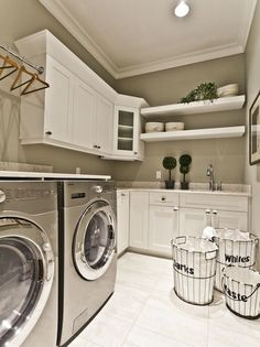 Windowless laundry room with bright white cabinetry and ceiling. - Windowless laundry room with bright white cabinetry and ceiling. Laundry Room Colors, Small Laundry Rooms, Laundry Room Organization, Laundry Room Design, Laundry In Bathroom, Washroom, Laundry Room Remodel, Basement Laundry, Farmhouse Laundry Room
