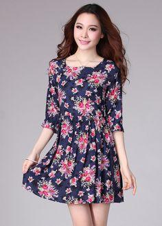 a73b7ba5fd4e Summer 1 2 Sleeve Korean Large Size Dress