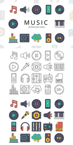 Music Vector Free Icon Set is an interesting set of icons. A total of 20 pieces. These are various items related to music: a microphone, headphones Icon Set, Vector Icons, Vector Free, It Icons, Sketch Note, Ui Patterns, Good Notes, Instagram Highlight Icons, Music Icon
